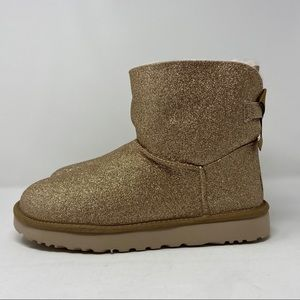 UGG MINI BAILEY BOW SPARKLE BOOTS GOLD GLITTER